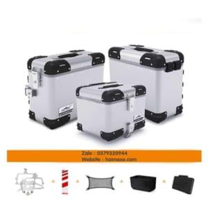 thùng nhôm loboo màu bạc và giá thùng